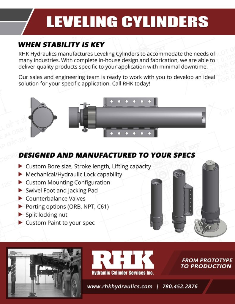Leveling Hydraulic Cylinder Brochure Custom Manufacturing and Repair